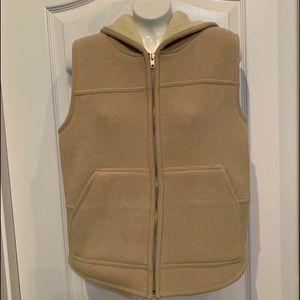 Jones New York Hooded Vest Fleece Tan w lining S